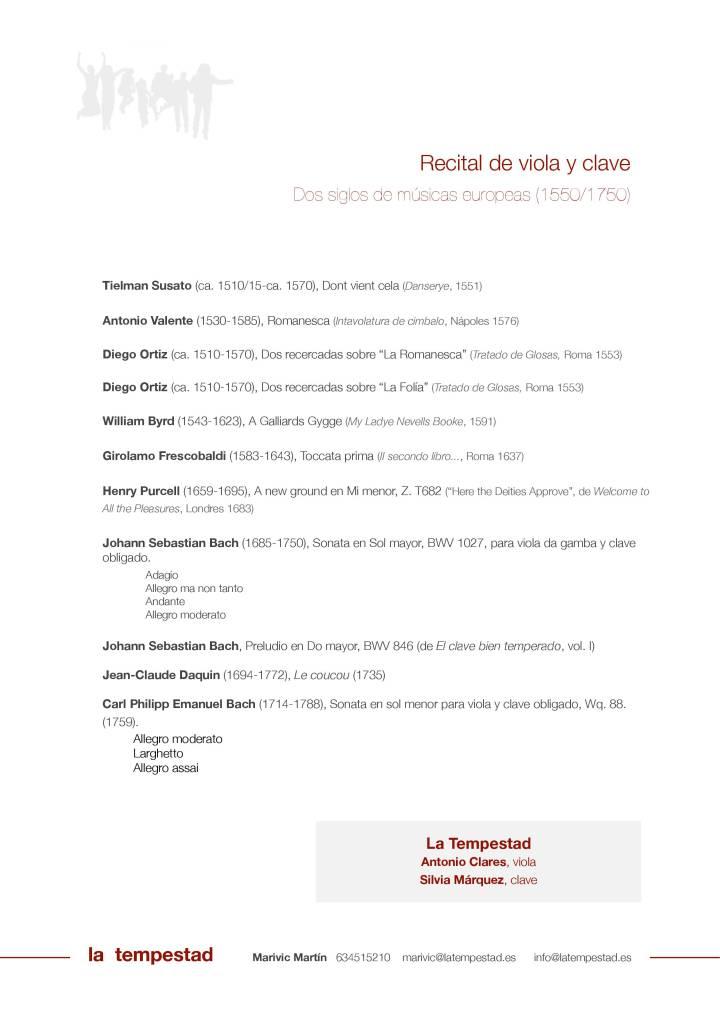 Recital de viola y clave 1550-1750